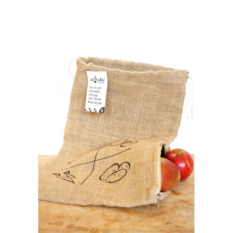 Jute Fruit & Veg Bag with Zip - XL